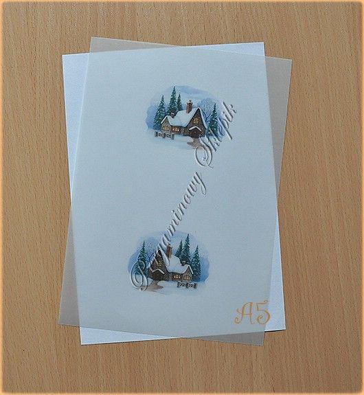 Kalka z nadrukiem - (BN) Zimowy domek