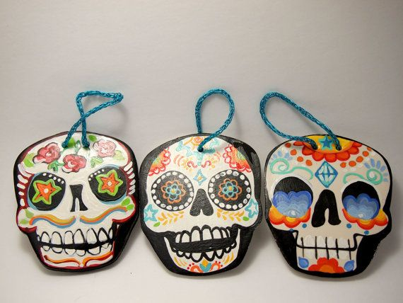 Holidays and Events - Day of the Dead set 2 sugar skull ornaments (made of clay and hand painted)
