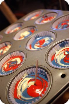 Dozen Flours: Chicago Cubs Red, White, and Blue Celebration Cupcakes