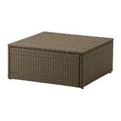"Ikea $50 ARHOLMA table/stool, brown Length: 25 5/8 "" Width: 25 5/8 "" Height: 11 3/8 "" Length: 65 cm Width: 65 cm Height: 29 cm"