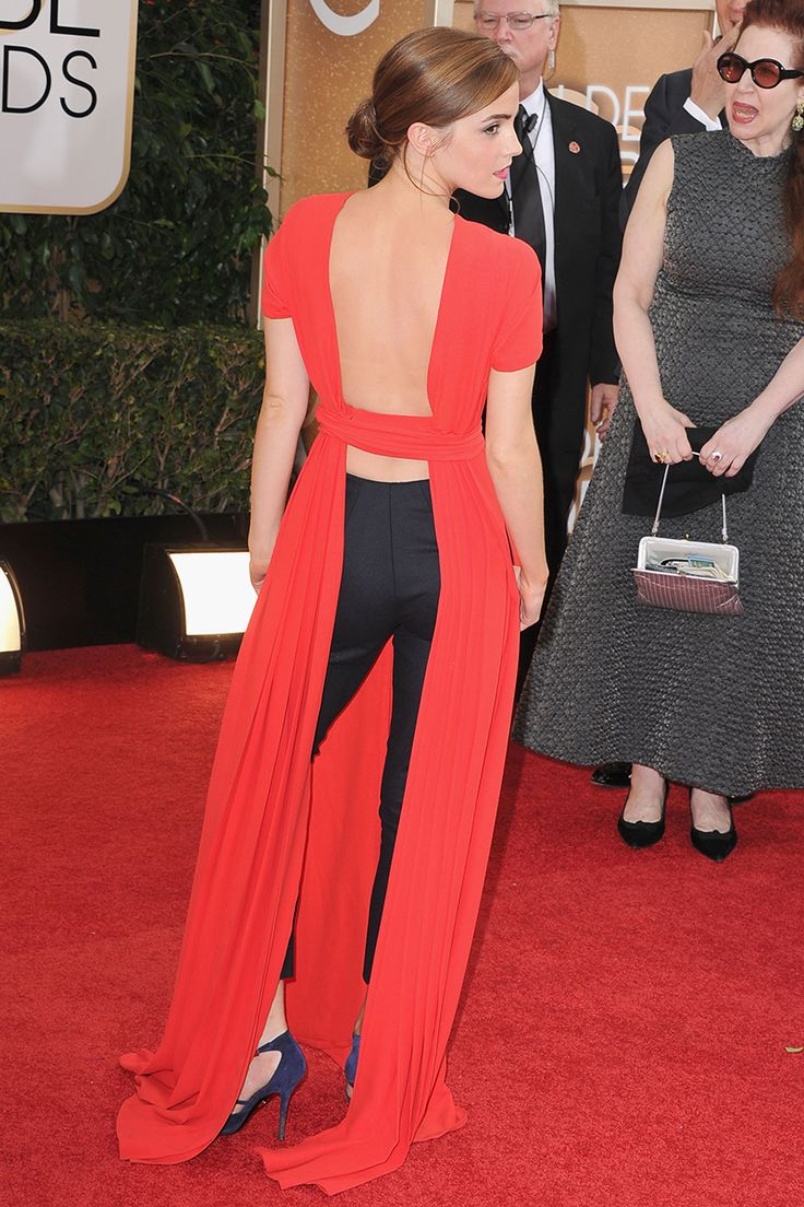 Emma Watson attends the 71st Annual Golden Globe Awards on January 12. In Dior Couture