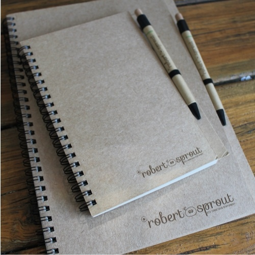 Eco friendly notebooks recycled paper and biodegradable pen www.robertsprout.co.za