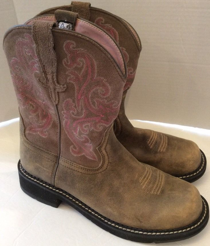 Ariat Boots 11B Womens Brown Fatbaby Leather Western Cowgirl Pink