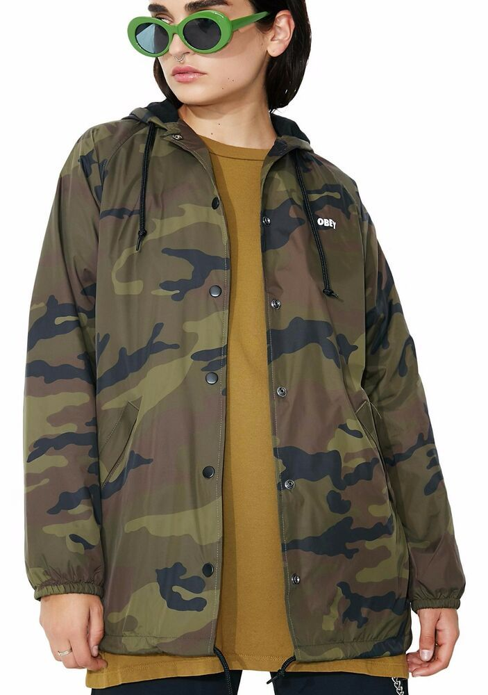 f025fcd32c95a Obey Dominance Hooded Coach Jacket Khaki Size XXS UK 8 rrp 75 DH170 HH 18  #fashion #clothing #shoes #accessories #womensclothing #coatsjacketsvests  (ebay ...