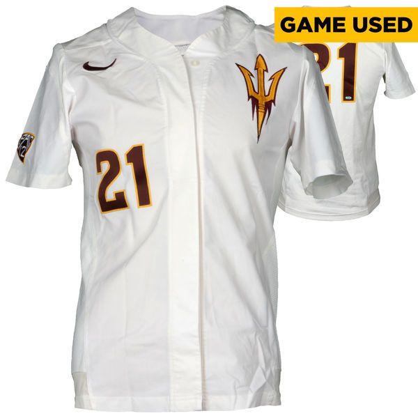Arizona State Sun Devils Fanatics Authentic Game-Used White #21 Softball Jersey used during the 2014-2015 Season - Size Large - $84.99
