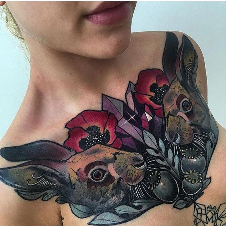 """""""Beautiful #neotraditional #chesttattoo done by #lovely @miryamlumpini ! #bunny #bunnytattoo #tattoo #ink #chest #color"""""""