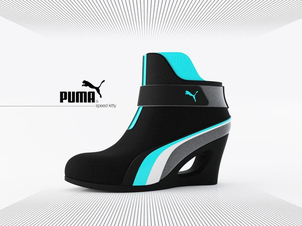The Puma Speed Kitty is a concept shoe designed by designer Adam Nagy.  Puma Speed Kitty combines the structure of a platform bootie with the feel of a Puma racing shoe. When look at the design, looks like its Sporty, the handy design shows that its futuristic and definitely Tron approved! Have a look!