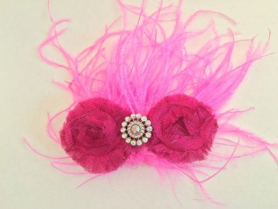 Dance Competition Hair Piece Hot Pink by FancyGirlBoutiqueNYC
