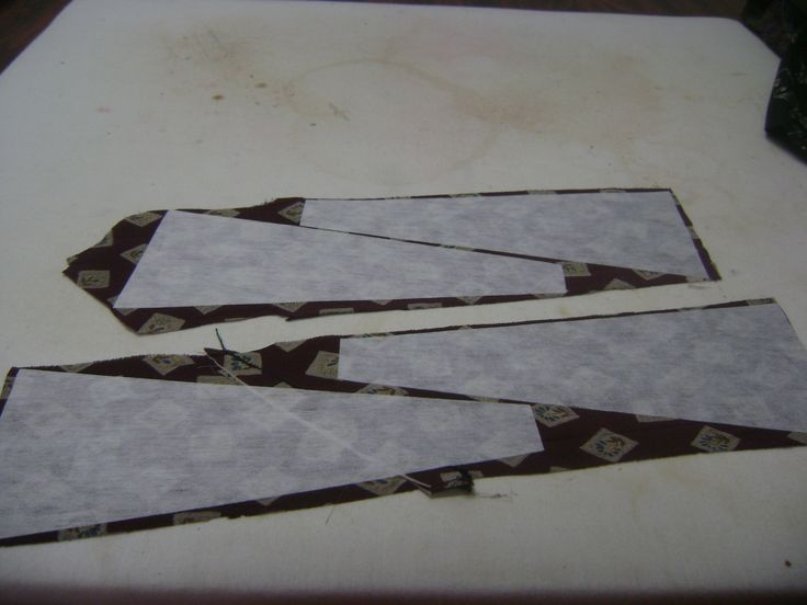 Stabilizer ironed to back of neckties