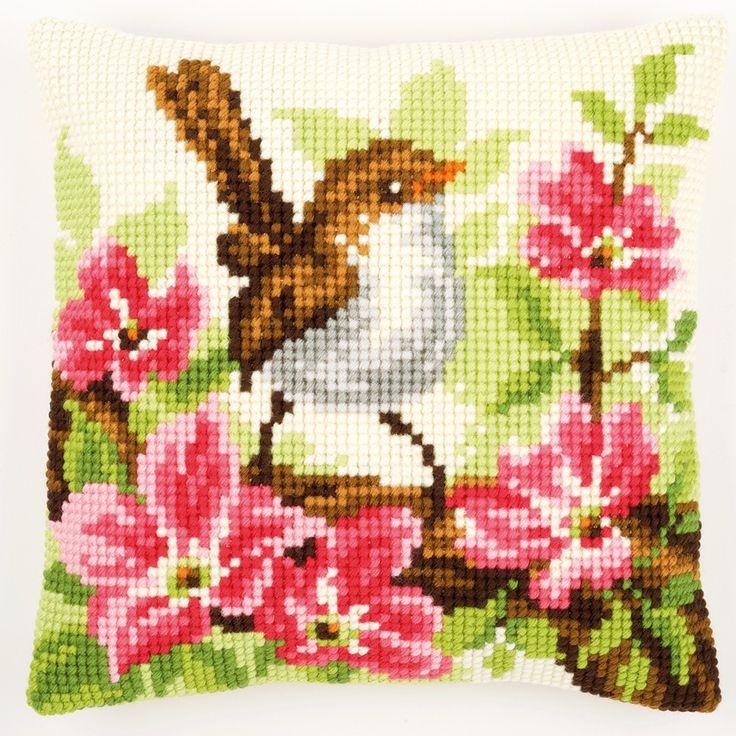Little Bird and Pink Flowers - Kruissteekkussen - Vervaco