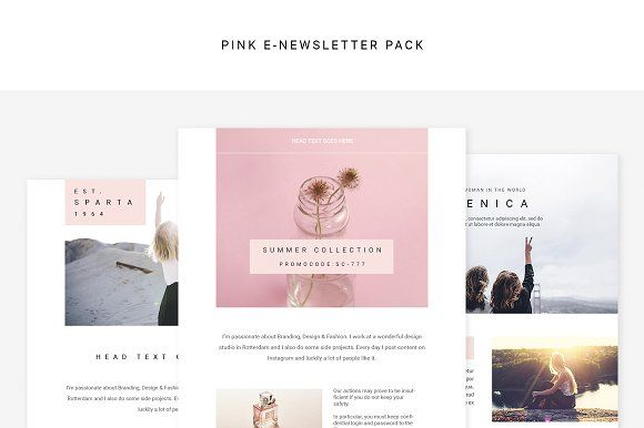 Pink E-newsletter Pack by Swiss_cube on @creativemarket