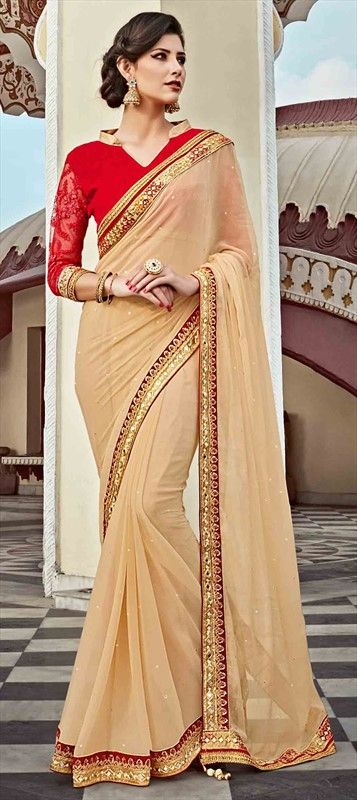 707748 Beige and Brown color family Embroidered Sarees, Party Wear Sarees in Faux Georgette fabric with Lace, Machine Embroidery, Mirror, Sequence, Stone, Thread work with matching unstitched blouse.