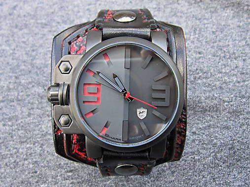 leon / Pánske hodinky, čierno červený kožený náramok