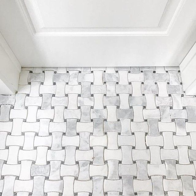 Bathroom mosaic floor tile - Hampton Delray Marble Mosaic Tile - 10 x 10 in. https://www.tileshop.com/product/657370-P.do