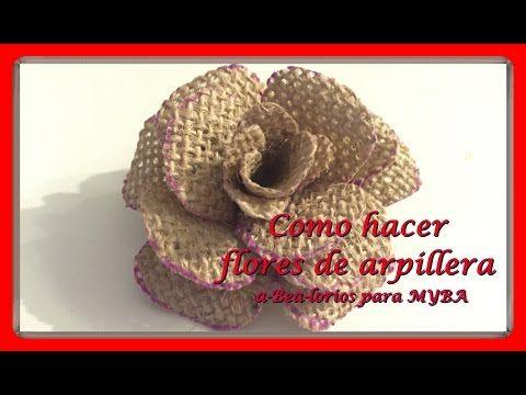 Cómo hacer flores de arpillera de yute. Flores de tela de saco muy fáciles. - YouTube