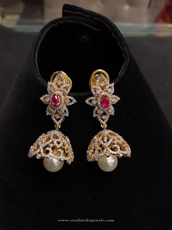 Light Weight Gold Diamond Jhumka Designs, Small Diamond Jhumka Models, Diamond Jhumkas in Light Weight.