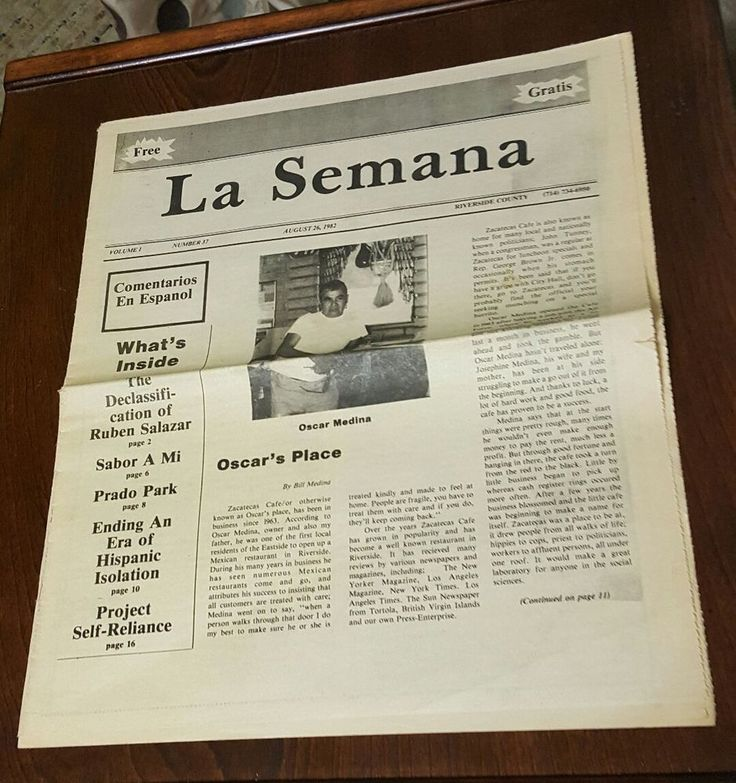 LA SEMANA Newspaper AUGUST 26 1982 OSCAR MEDINA Zacatecas Riverside