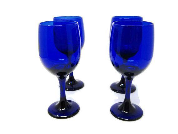 ♧‡ Vintage #Cobalt Blue Libby Stemware | Mid Century Modern Blue Wine Glas... Best http://etsy.me/2kx4bBL