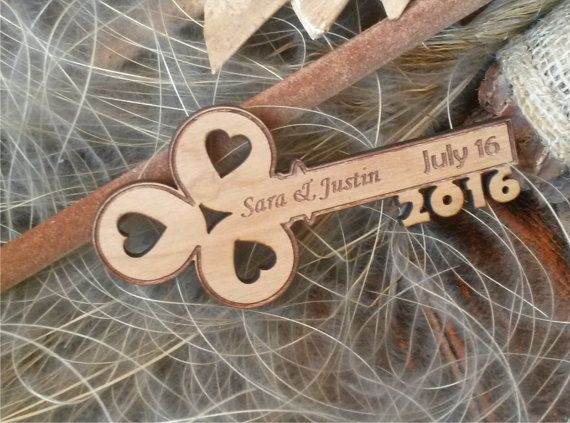 Cherry wood save the date magnet  / Unique by AmazingWoodCraft