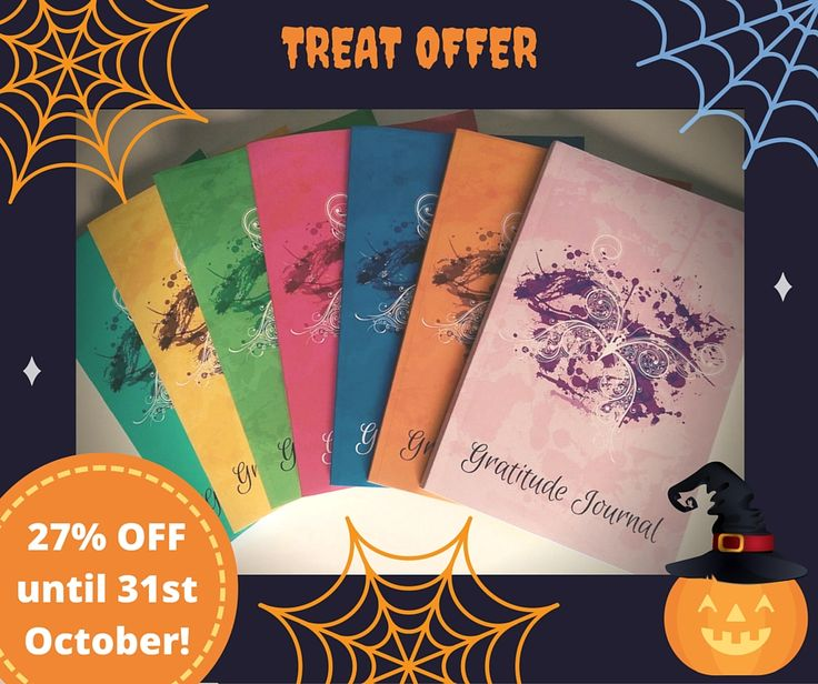 TREAT OFFER Only 3 days left to get 27% off your Gratitude Journal Butterfly. Save $1.94/£1.94 per journal on the 6 new colours! Get your early stocking fillers for your loved ones and save money. Available on Amazon worldwide!  Follow this link to see all the new colours: http://goo.gl/1QYGHG  ‪#‎GratitudeJournalButterfly‬ ‪#‎HalloweenTreat‬