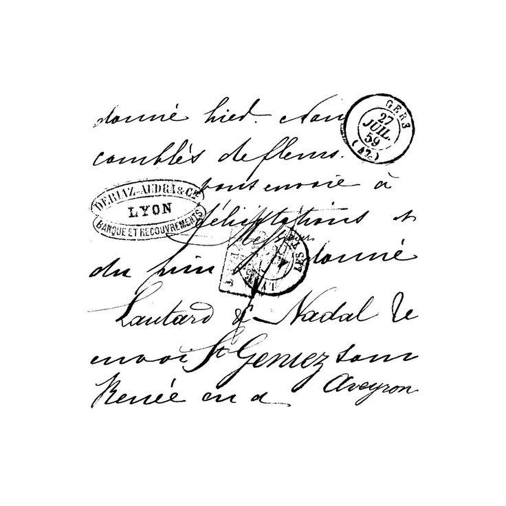 french script carta letras frances blanco sello postal etiqueta