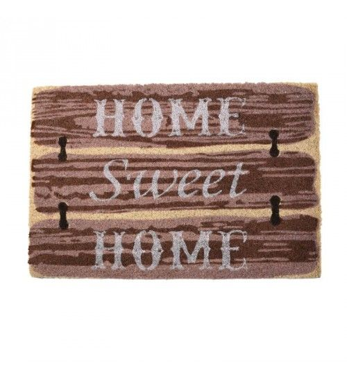 DOORMAT W_PVC BACK AND SYNTHETIC GRASS W_HOME SWEET BROWN_BEIGE 40X60