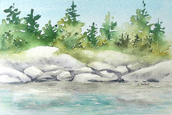 Rocky Shore Original Beach Art Watercolor Painting 4 X 6