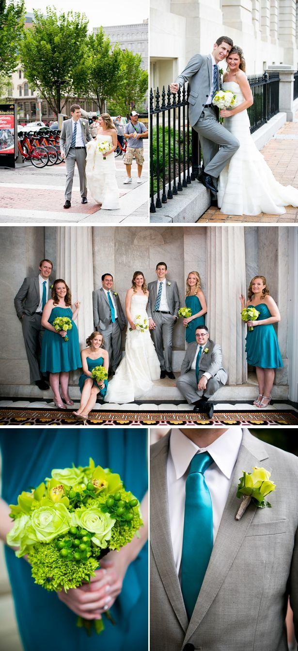 Modern Green and Blue Summer Hotel Wedding in DC