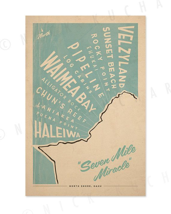 North Shore Oahu Surf Map  12x18 Retro Hawaii by EverythingIsJake, $20.00