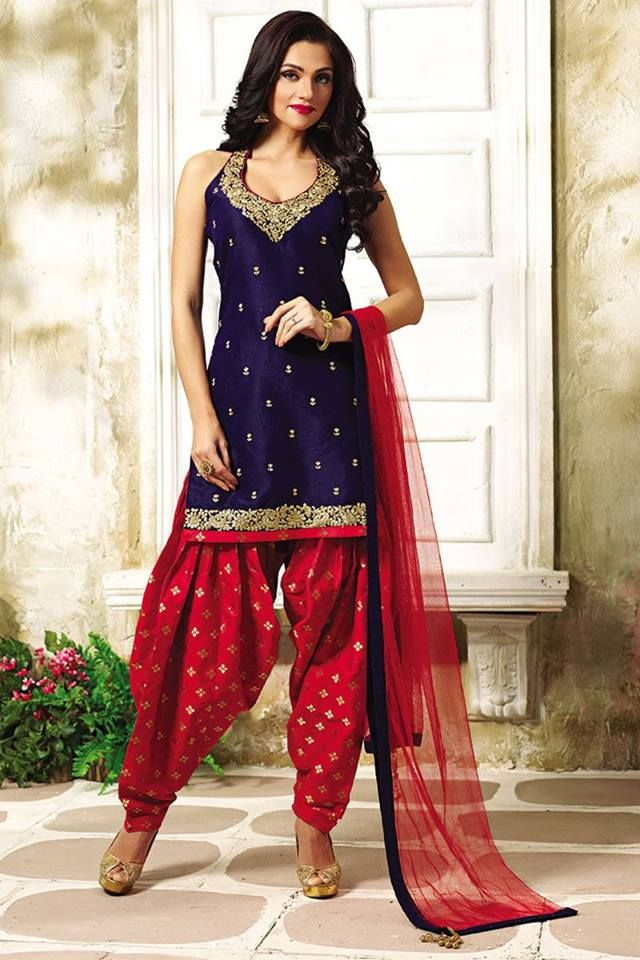 No ethnic wear collection is complete without a traditional patiala suit. Buy Patiala Suits online - http://www.aishwaryadesignstudio.com/enticing-navy-blue-red-patiala-suit