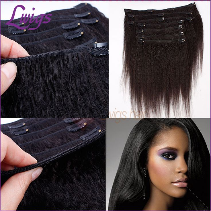 Kinky Straight Clip In Hair Extensions Brazilian Virgin Human Hair Clip In Natural Yaki Kinky Straight Clip Ins for Black Woman