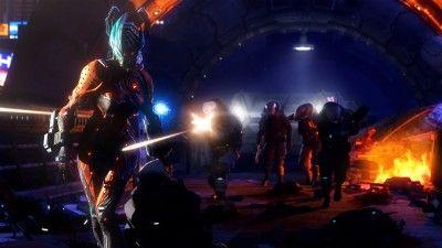 Warframe, game, shooter, fps, monster, armor, fire, robot, battle, fight, screenshot, PC, xbox, PS4, 4k, 5k