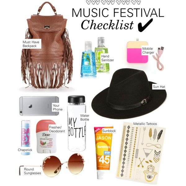 Music Festival Checklist by windsorstore on Polyvore featuring ban.do, Jason, Maybelline, festival, coachella and musicfestival