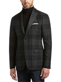 Lauren by Ralph Lauren Charcoal Plaid Slim Fit Formal Dinner Jacket