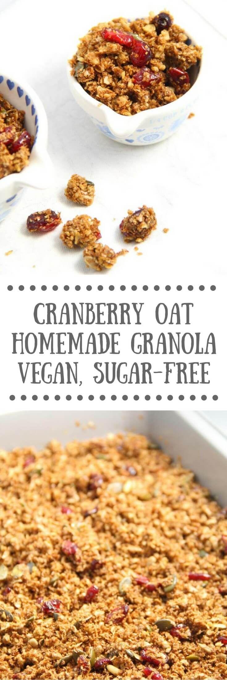 Cranberry Oat Homemade Granola | Vegan, sugar-free breakfast recipe
