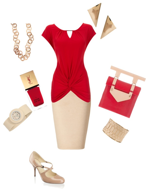 """""""Red n' Beige"""" by mistybreez on Polyvore: Style Skirts, Apparel 14, Lady Fashion, Work Wear, Women'S Apparel, Outfits Ideas, Virtual Closest, Shorts Skirts, Work Attire"""