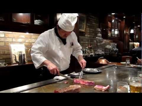 ▶ Real Kobe beef teppanyaki Steak Land restaurant Kobe, Hyogo, Japan - YouTube