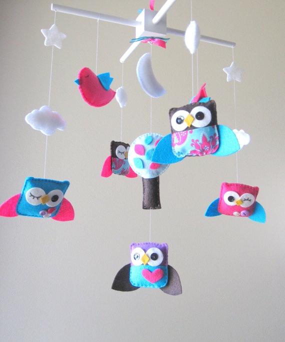 Baby Crib Mobile - Baby Mobile - Custom Baby Mobile - Owl Baby Mobile - Mobile Owls - Nursery Mobile