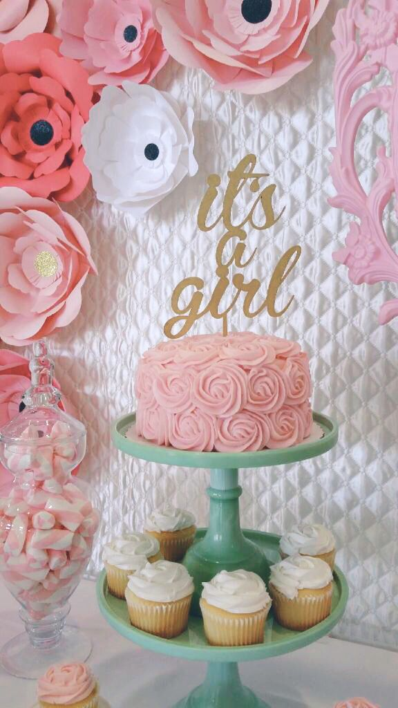 It's a Girl gold cake topper on dessert table styled by Pretty Little Showers