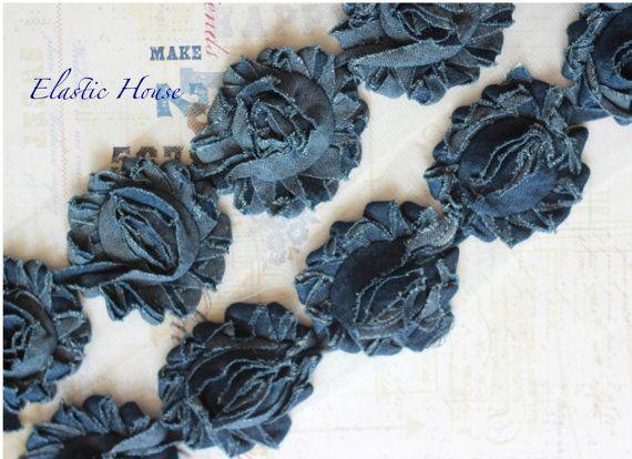 1/2 Yard DENIM Shabby Rose Trim-DIY Stirnband / Haarschleife / Haarspangen liefert 2019 1/2 Yard DENIM Shabby Rose Trim-DIY Stirnband / Haarschleife / Haarspangen ...