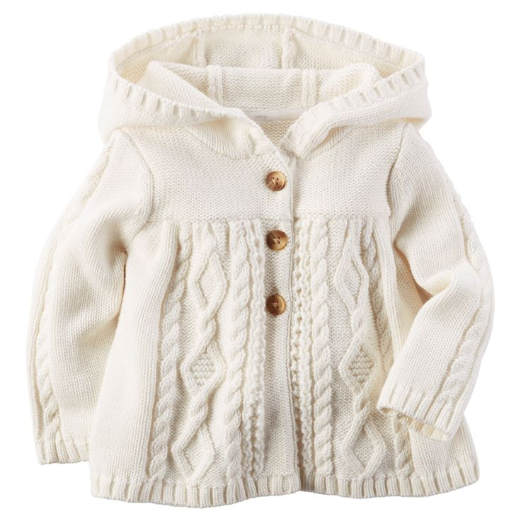 Baby Girl Hooded Chunky Cable-Knit Cardigan | Carters.com                                                                                                                                                                                 More