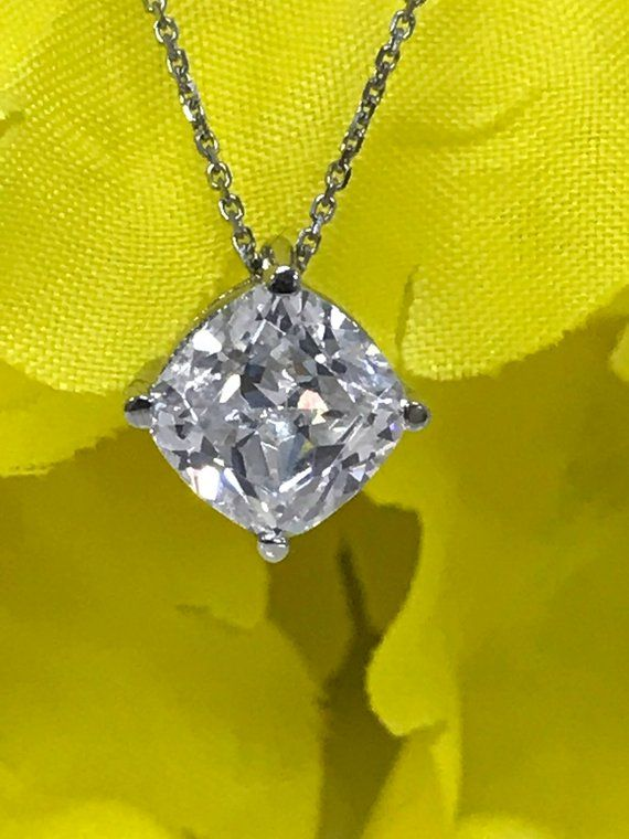 """1 Ct Round Canary Yellow Solid 14k White Gold Solitaire Pendant 18/"""" Necklace"""