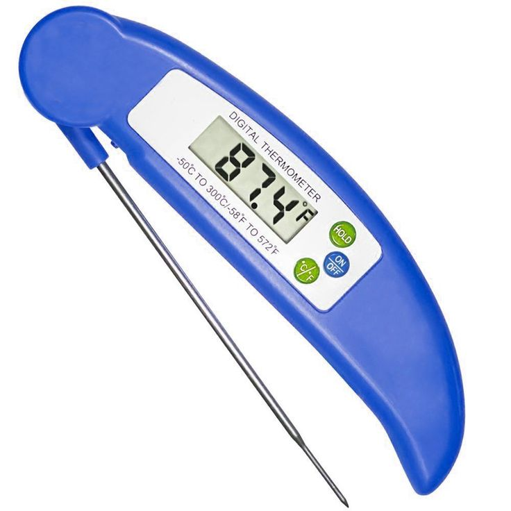 Food/BBQ Thermometer,Kitchen Instant Read Digital Cooking Thermometer with Collapsible Probe for Meat Fish Baking Grill BBQ Cooking (Blue Color)