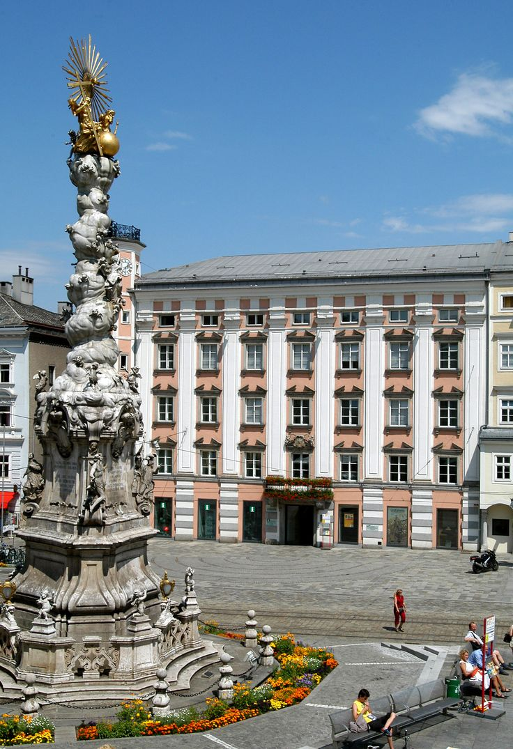 Linz public square, Austria. Linz is the third-largest city of Austria and capital of the state of Upper Austria. It is located in the north center of Austria, 19 miles south of the Czech border, on both sides of the River Danube.