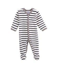 Petit bateau - Fluwelen babypyjama met marinestrepen - Pyjama s en nachtkledij - Baby jongen