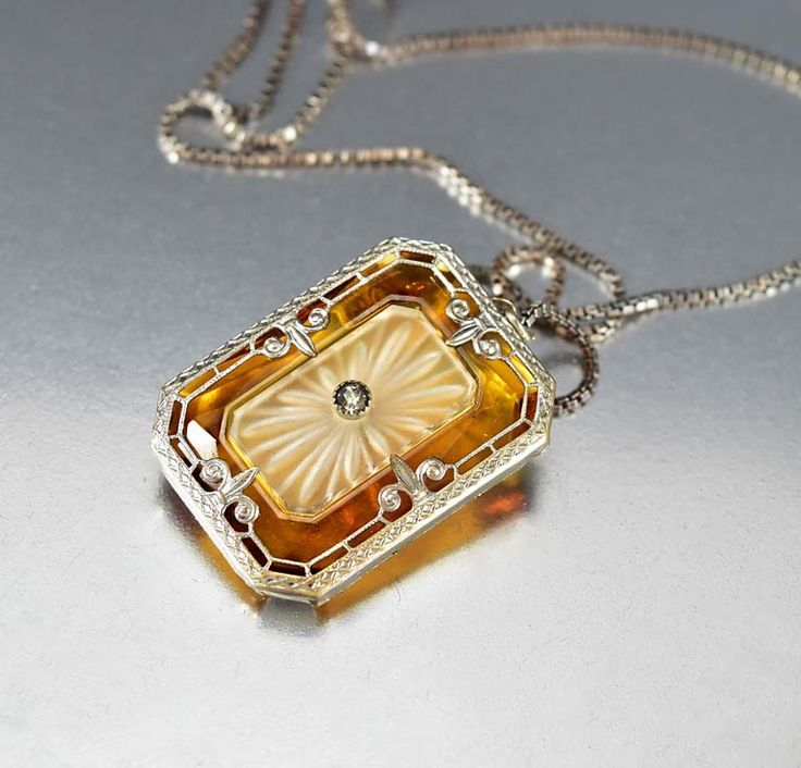 Crystal Camphor Glass Pendant Silver Art Deco Necklace