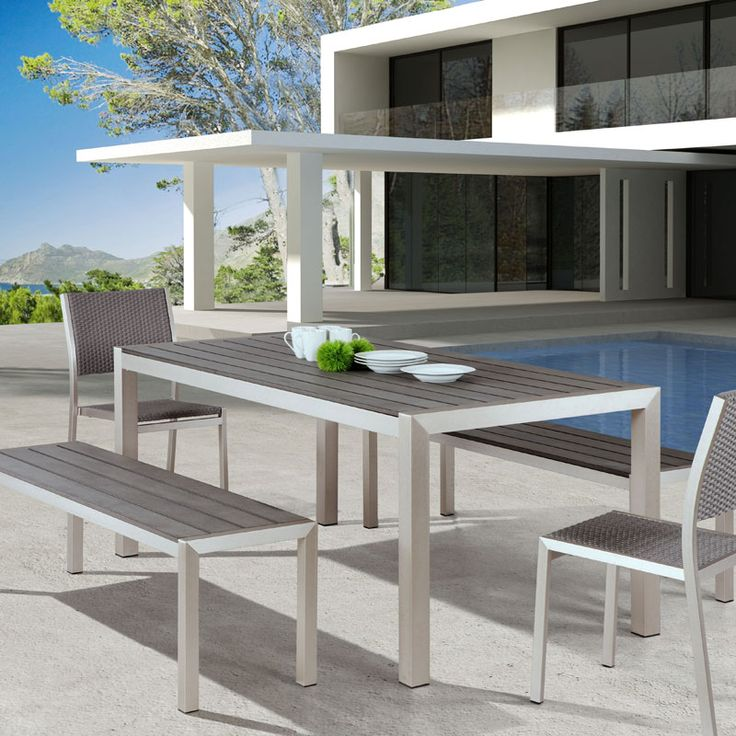From Our Contemporary Outdoor Furniture Collection, The Melun Outdoor Dining  Bench Says It All.