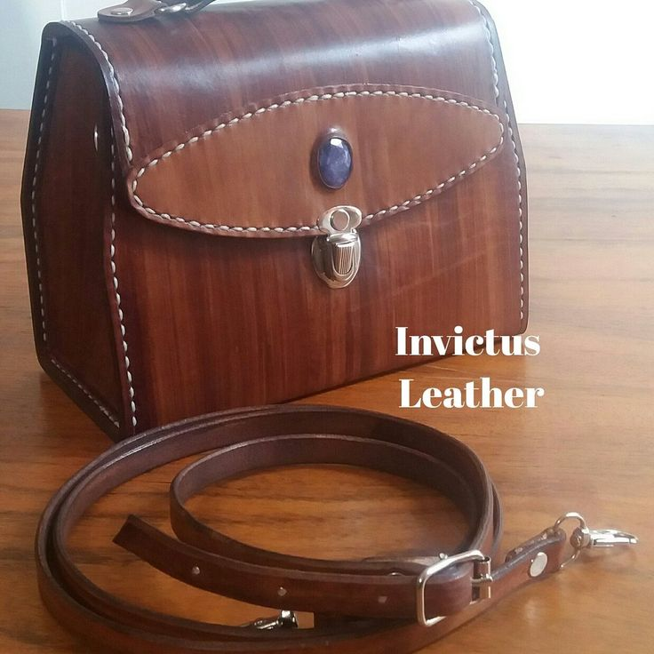 Leather Box Style Bag with Sapphire Gemstone www.facebook.com/invictusleather www.angelicfeathers.com #leatherbags