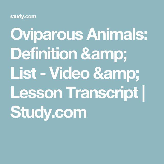 Oviparous Animals: Definition & List - Video & Lesson Transcript | Study.com