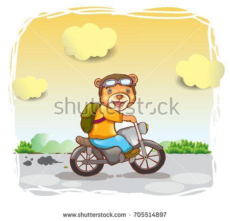 cute bear drive motorcycle, cover design, wallpaper, children book, vector cartoon illustration